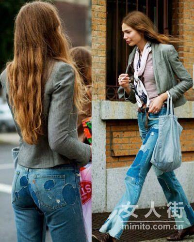 牛仔裤新穿法 补一补更时尚